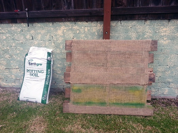 DIY Pallet Garden Finished Stapling
