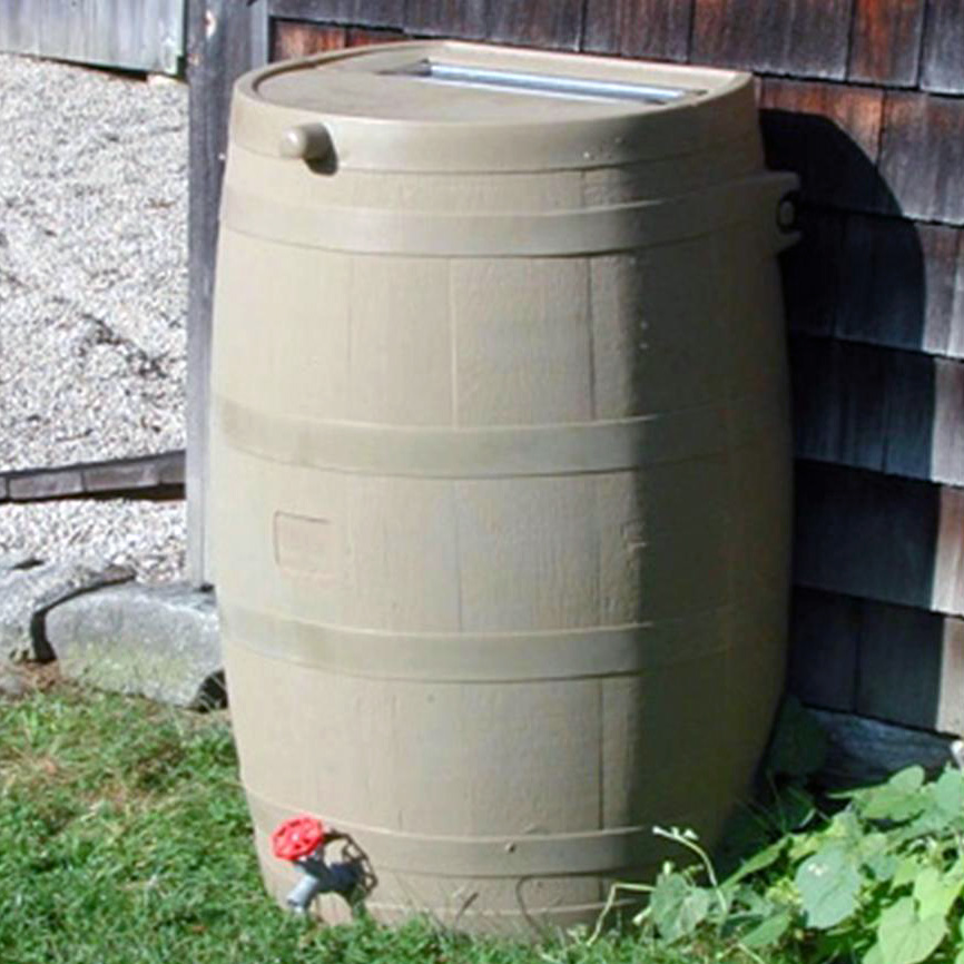 Example of a flat-backed rain barrel design.