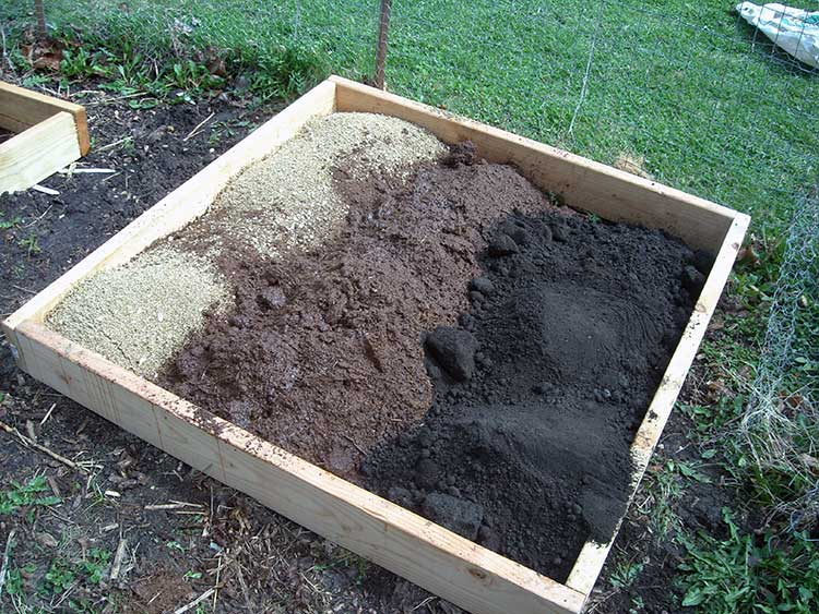 Peat moss in a Square Foot Garden